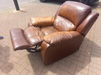 brown leather recliner armchair the chair