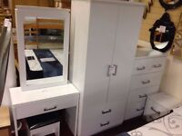 New Charles white bedroom wardrobe £139 bedside £55 chest £125 dressing table set £145