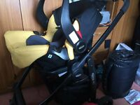 GRACO EV0 PUSHCHAIR FRAME WITH Graco Snugsafe- Mineral Yellow 0+ Baby Car Seat