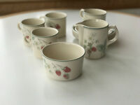 Wedgwood Raspberry Cane pattern cups/saucers, milk and sugar jug