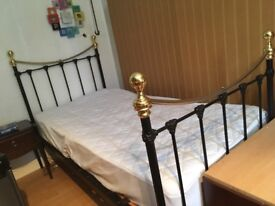 Single bed. Iron and brass frame