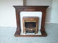 Electric fire (coal-effect) and surround - rosewood and marble effect. For collection. Hamilton.