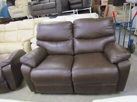 Traditional Brown 2 Seater Reclining Real Leather settee Stylish Sofa chair