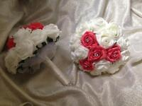 Coral and ivory adult size bridesmaids Bouquet