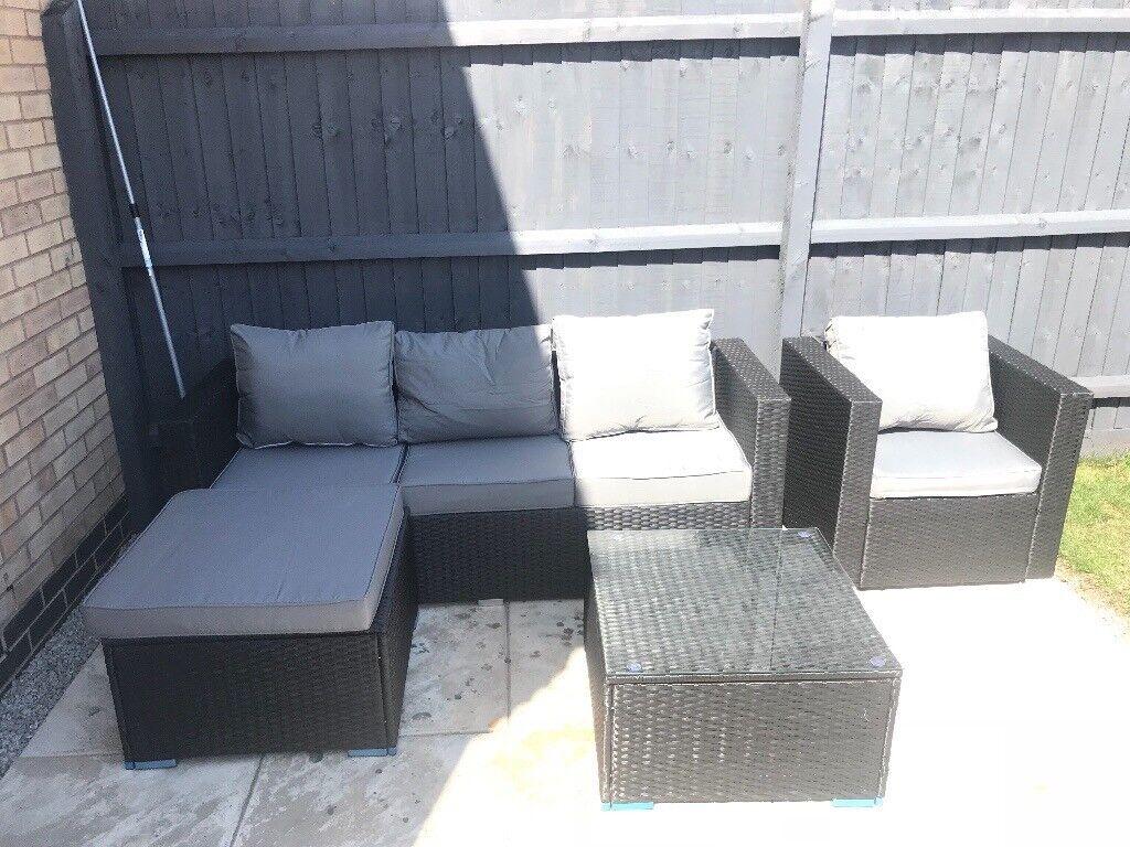 Black Rattan Sofa Set