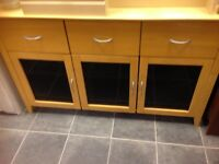 SOLID WOOD AND BLACK GLASS SIDEBOARD WITH 3 DEEP DRAWERS AND 3 DOORS VGC , MEASURES 55 INCHES WIDE X