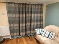 Patio door curtains, extendable curtain pole and 3 matching cushions