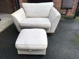 M&S Cream Sofa, chair & footstool
