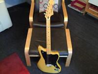 Vintage modified Squier Jazzmaster guitar in butterscotch blonde. Has a maple neck vgc