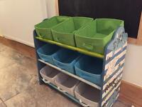 Child's toy storage frame with nine boxes