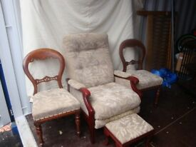 vintage reclining armchair, (cintique of london) ,+2 georgian , side chairs .+ foot stool.