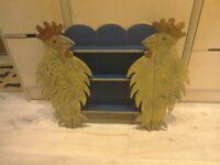 Bespoke hanging shelves / collectors cabinet with 'hen/chicken' novelty doors