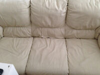 Cream 3 Seat Leather Sofa In Great Condition Must GO!