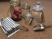 Sweet jars, bags and scoops