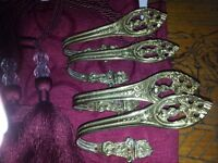 2 PRS OF BRASS HOLDBACKS FOR CURTAINS