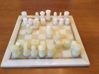 Turkish Onyx 1970s Chess Set in Green and White
