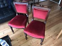 Victorian Mahogany red velvet dining chair x2