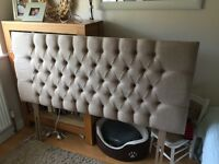 Beautiful new Kingsize headboard - beige colour - buttoned