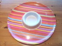NEW funky large round circular party serving dish platter plate pink stripe tortilla snacks chip dip