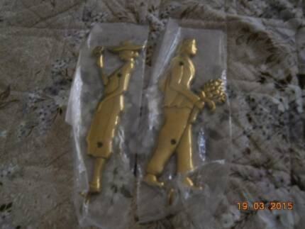 **Gold brass lady&gentleman** WALL HOOKS DECOR Norwood Norwood Area Preview