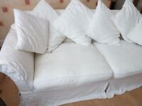 Country style 3-seater Settee, upholstered in pale cream washable fabric