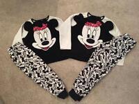 Little Girls Disney Minnie Mouse fleece pyjamas pj's nightwear age 5 years 7 years