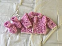 Crochet cardi, hat and booties.