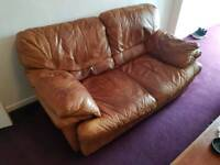 Light brown leather sofa (Free to good home)