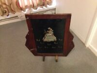 Antique Victorian Fire Guard with Picture of Lady on the front - Little Bo Peep and Her Sheep