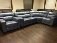 Steel blue corner sofa and chair in genuine leather