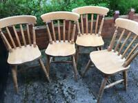 Solid pine fiddle back chairs