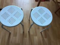 2 white stools