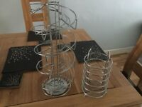Chrome Dolce Gusto coffee pod stand with utensil holder