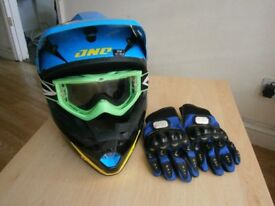 boys motocross helmet, gloves and googles