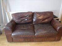 brown leather sofa vintage fiften years old