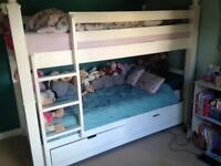 White wooden bunk beds with drawer storage £180