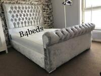 DOUBLE KING SIZE VELVET DIAMOND SLEIGH BED
