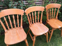 3 lovely strong solid wood farmhouse chairs