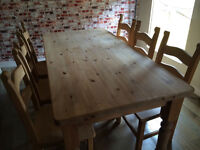 Beautiful large farmhouse solid pine table with 6 fantastic solid wood Breton chairs