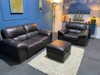 Dark brown leather suite 2 seater sofa and chair and storage footstool