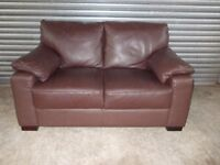 Small Brown Leather 2-seater Sofa (Suite)
