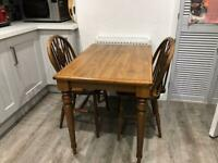Pine kitchen table & 2 pine chairs