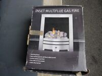 Inset multiflue gas fire. As new never used