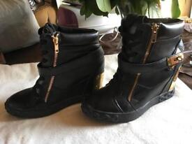 Aimeigao ladies ankle leather wedge boots size 6/39 used 2 times £8