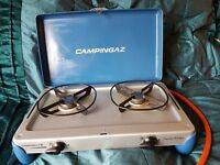 CAMPINGAZ TWO BURNER STOVE AND REGULATOR
