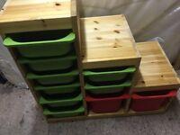 Multi drawer wooden Ikea storage unit/toybox