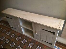 Shabby chic rustic vintage slim low cabinet cupboard