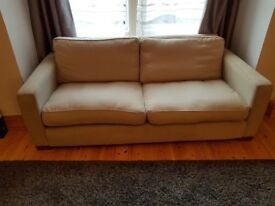 Matching 3 Seater Sofa and 2 Seater Sofa Bed, Very Comfy in Cream