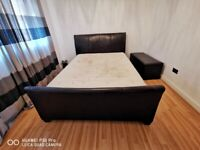 Used King Size - Troy Leather Bed Frame with mattress and Ottoman Leather storage.
