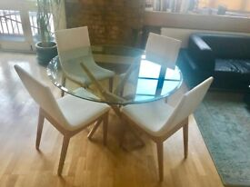 Heals Round Dining Table Chairs White Upholstered Wood Set Oak